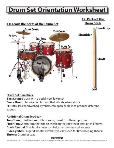 Drum Set Orientation Worksheet -